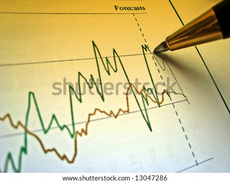 Pen showing diagram on financial report 6 - stock photo