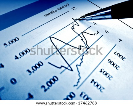 Pen showing diagram on financial report 31 - stock photo
