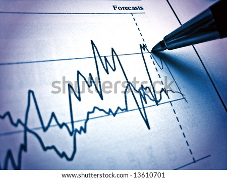 Pen showing diagram on financial report 12. Light & blue - stock photo