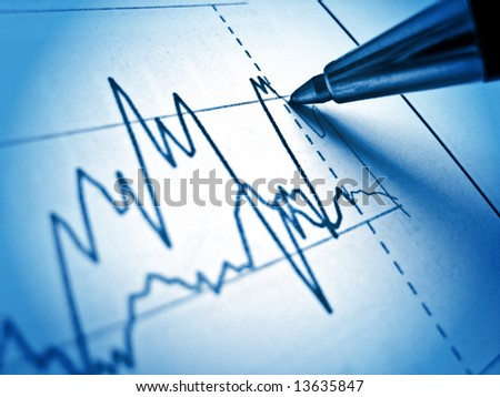 Pen showing diagram on financial report 13. Light & blue - stock photo
