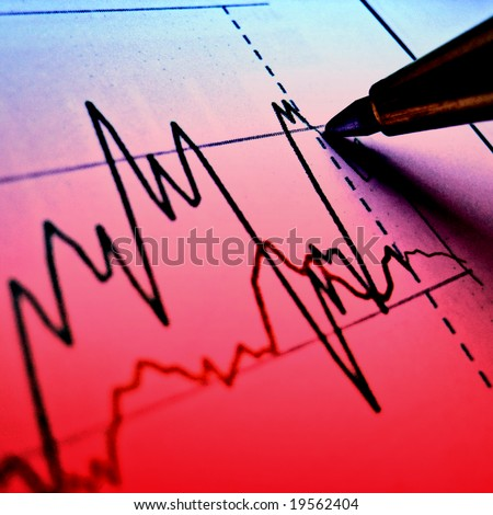 Pen showing red diagram on bad financial report 34 - stock photo