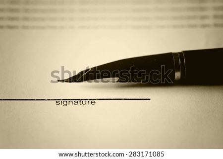 pen signature contract - stock photo