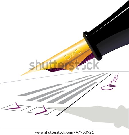 Pen. The filled questionnaire with the signature. illustration - stock photo