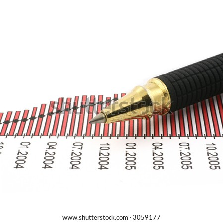 pen tip and business chart on white