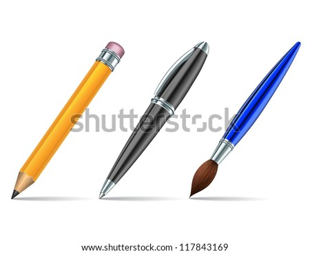 Pen tools isolated on the white background.
