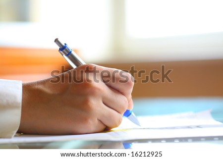 pen work hand work - stock photo