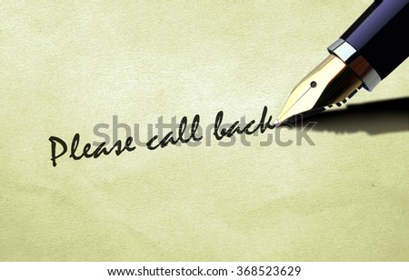 Pen writing please call back - stock photo