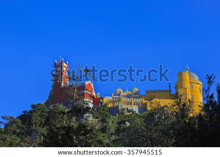 Pena castle on the hill in Sintra, Portugal - stock photo