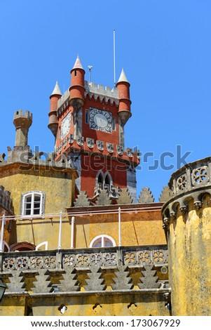 Pena National Palace (Portuguese: Palacio Nacional da Pena) is a Romanticist palace in Sintra, Portugal. Pena National Palace is UNESCO World Heritage Site since 1995. - stock photo