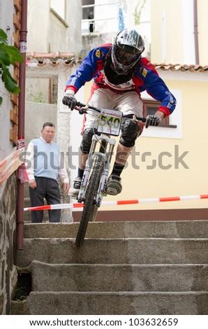 PENACOVA, PORTUGAL - MAY 27: Jose Domingos during the Taca de Portugal Downhill Urbano Vodafone on may 27, 2012 in Penacova, Portugal. - stock photo