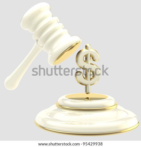 Penalty and fine illustration as isolated golden and glossy gavel breaking dollar sign - stock photo