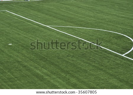 Penalty point in the soccer playground - stock photo