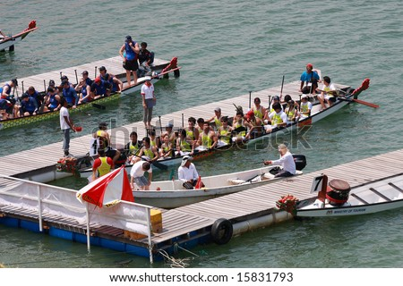 PENANAG, MALAYSIA - 31 July - 3 August 2008 - Dragon boat docking at the port and ready to race in Club Crew World Championships 2008 - stock photo