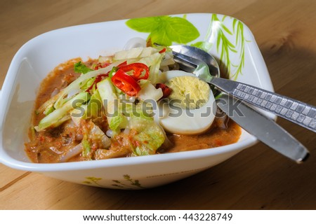 Penang Laksa - Spicy Malaysia Dish in a bowl ready to eat