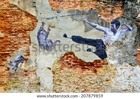 "PENANG, Malaysia - circa JULY 2013: ""The Real Bruce Lee Would Never Do This"" street art mural by ASA (Artists for Stray Animals), part of the 101 Lost Kittens project in Penang, Malaysia."