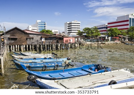 Penang, Malaysia - Dec 14, 2015: The Penang culture heritage of lifestyle and environment at the Chew Jetty, Penang, Malaysia. Chew Jetty is one of the old Chinese waterfront settlement in Penang.