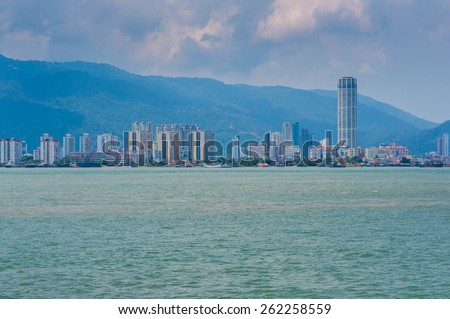 Penang view from the sea - stock photo