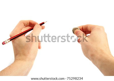 pencil and eraser in the hands - stock photo