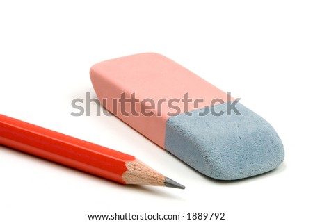 Pencil and eraser isolated over a white background - stock photo