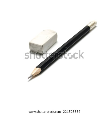 pencil and eraser on a white background - stock photo