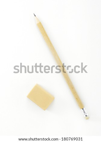Pencil and eraser on white background - stock photo