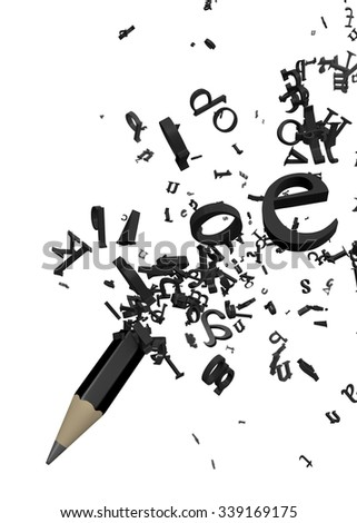 Pencil and Letters - stock photo