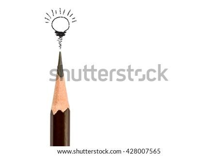 pencil  and light bulb on white,concept idea - stock photo