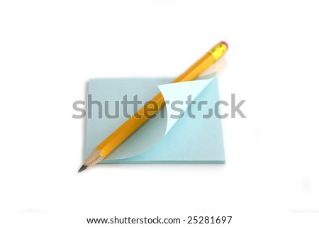 Pencil and note against the white background - stock photo
