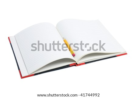 Pencil and Note Book on White Background - stock photo