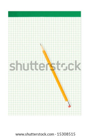 pencil and notepad isolated against white background