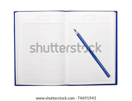 Pencil and organizer on white background - stock photo