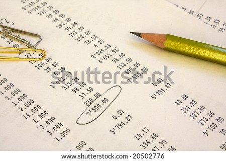 Pencil and paper clips lay on the financial report - stock photo