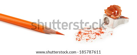 Pencil and pencil shavings, isolated on white - stock photo