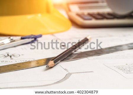 Pencil and ruler in the planning, construction, technical drawing.