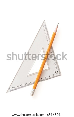 Pencil and ruler isolated on white - stock photo