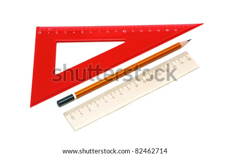 pencil and ruler on a white background closeup