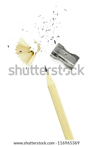 pencil and sharpener isolated on white - stock photo