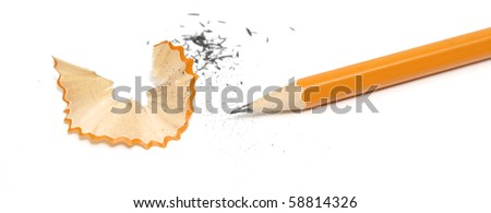 Pencil and shavings - stock photo