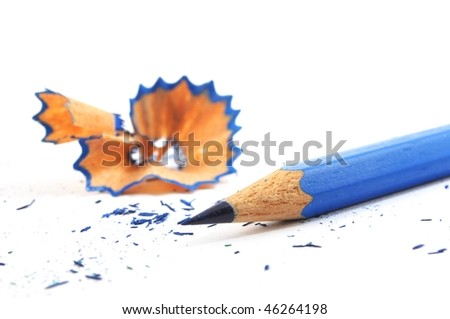 pencil and shavings isolated on with background - stock photo