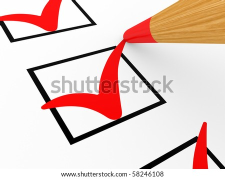 Pencil and the list with marks in a white background - stock photo