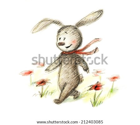 pencil and watercolor drawing of bunny in red scarf walking among flowers - stock photo