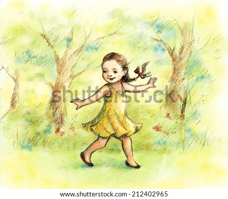 pencil and watercolor drawing of little girl walking in the forest - stock photo