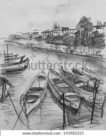 Pencil black and white drawing of the old fishing boats floating in the calm water of Sozopol port in Bulgaria.