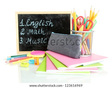 pencil box with school equipment and timetable isolated on white - stock photo