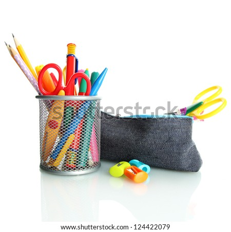 pencil box with school equipment isolated on white - stock photo