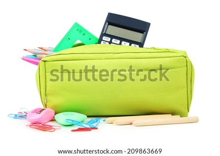 Pencil case full of school supplies isolated on white - stock photo