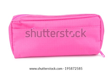Pencil-case isolated on white - stock photo