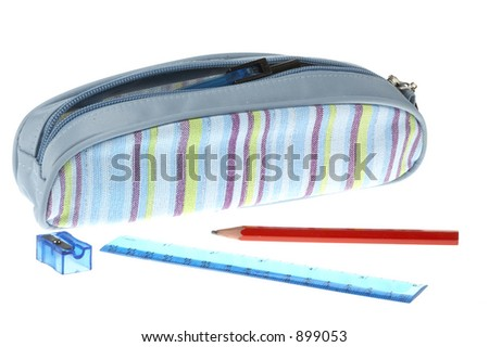 Pencil case on a white background - stock photo