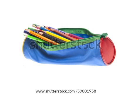 pencil-case on white background - stock photo