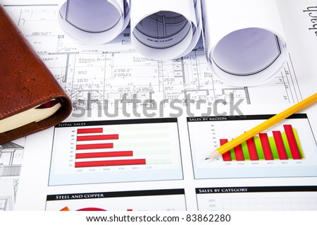 pencil, chartsr, documents, notepad, blueprint for business collage